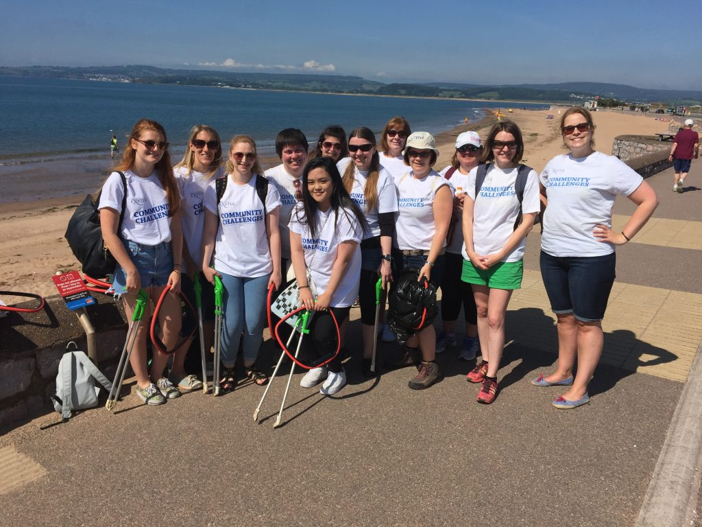The Accommodation Office taking part in a beach clean at Exmouth