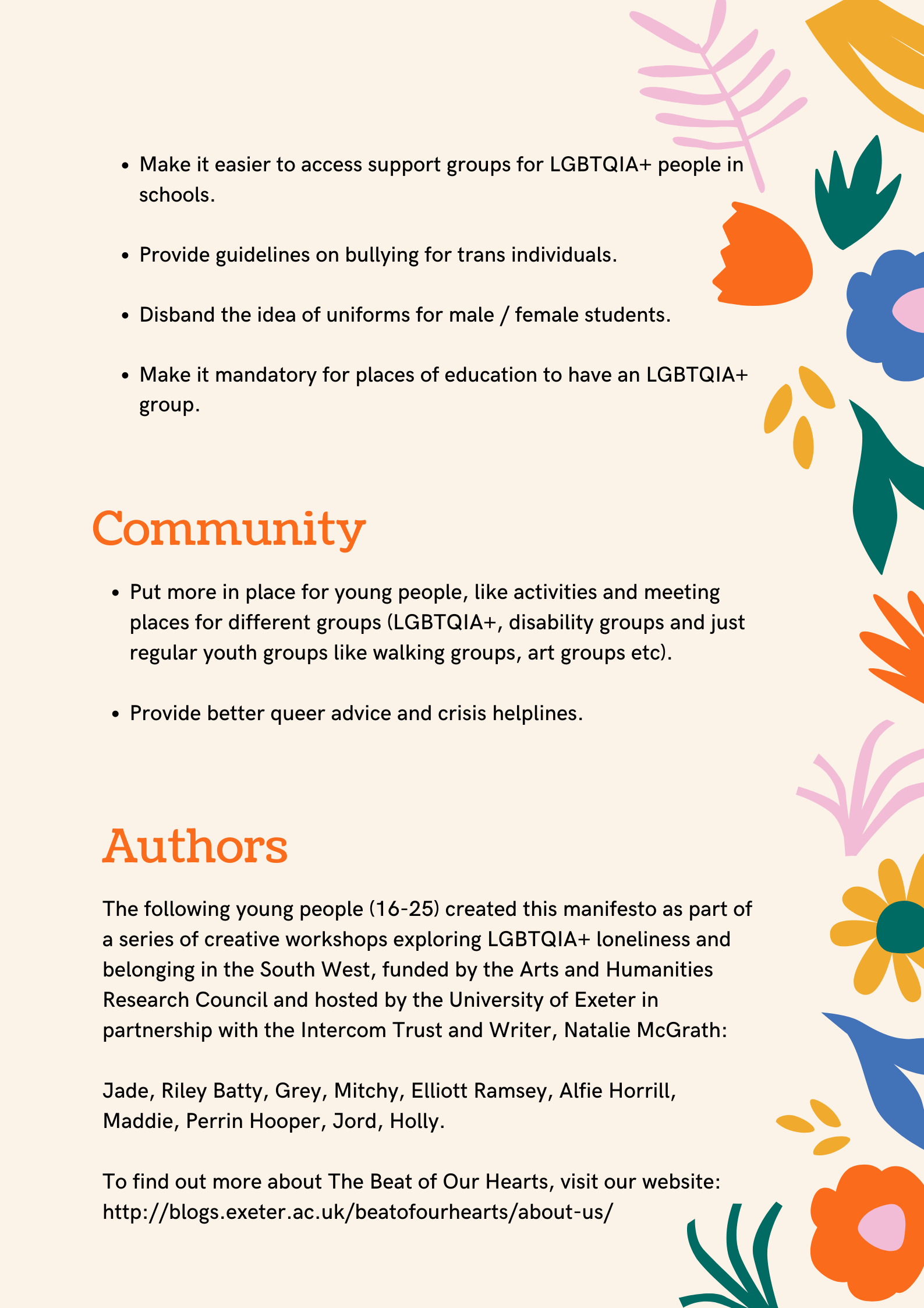 Picture of the manifesto, with a peach background and block colour flowers down the left-hand side. The Beat of Our Hearts logo is in the top left-hand corner. The manifesto is in two pages. The second page continues education but also has a theme of community. Information about the authors of the manifesto is also on this page.