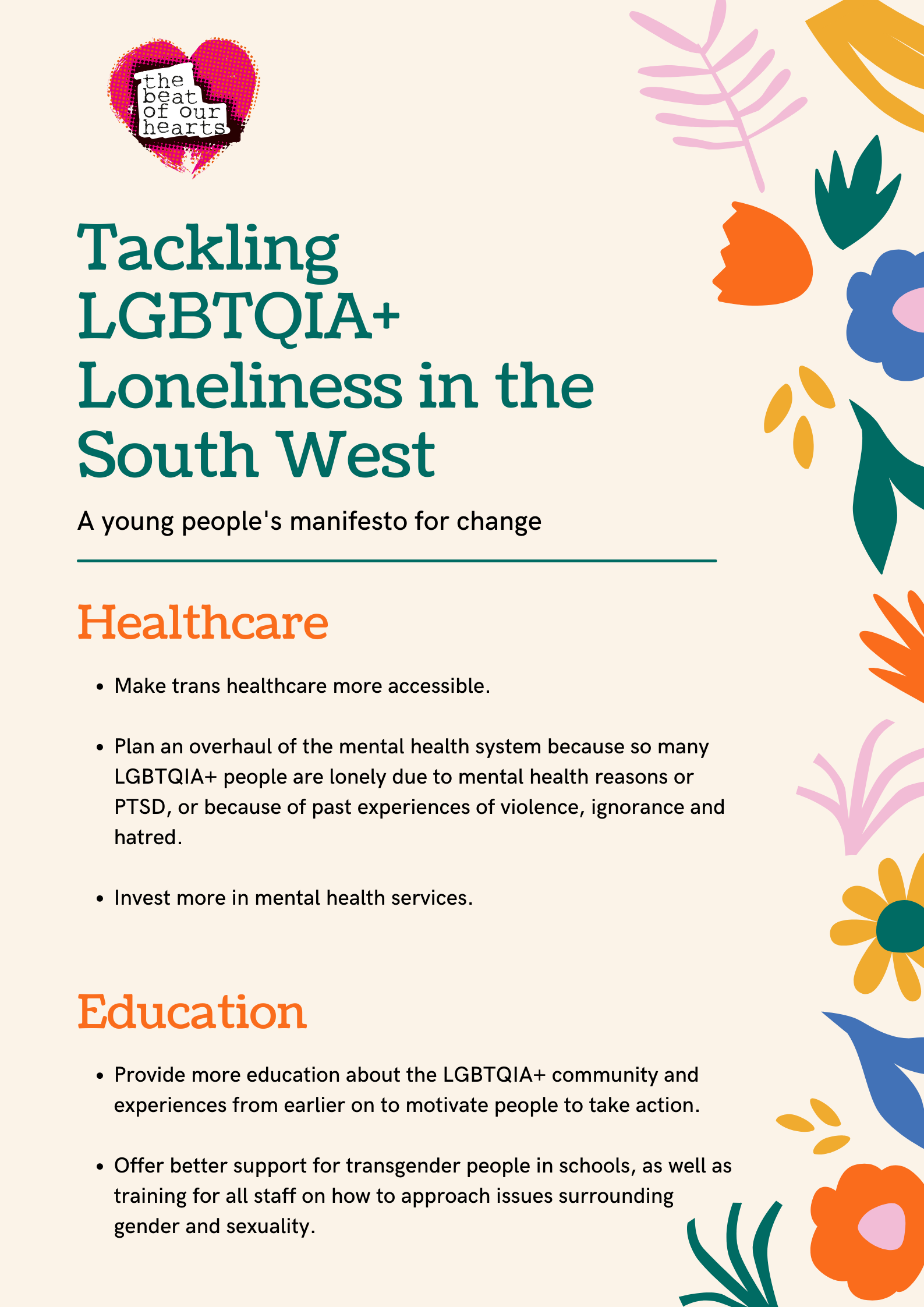 Picture of the manifesto, with a peach background and block colour flowers down the left-hand side. The Beat of Our Hearts logo is in the top left-hand corner. The manifesto is in two pages. The first page deals with healthcare and education.