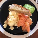 Scrambled eggs with avocado and smoked salmon