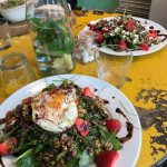 Spinach & strawberry salads alongside delicious spa water