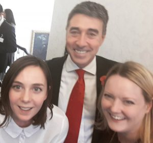 The Click Hub's Anna, Santander CEO Nathan Bostock, and Exeter's Employer Liaison Officer Jo McCreedie