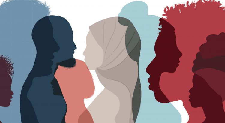 Silhouette profile group of men and women of diverse culture. Diversity multi-ethnic and multiracial people. Concept of racial equality and anti-racism. Multicultural society. Friendship