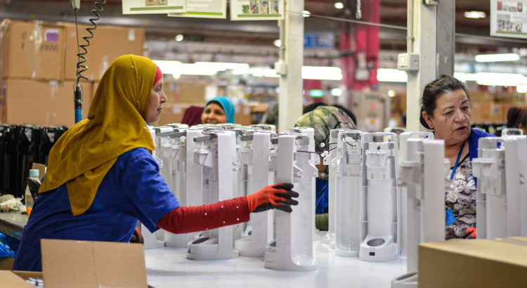 Women working on SodaSteam devices at the SodaStream factory in Israel.