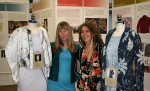 Irene Griffin (left) from Falmouth University and Dr Clare Saunders (right) with exhibits from the Fashion Footprints travelling exhibition at the launch of their new research collaboration.