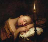 Jean-Baptiste Santerre (1658-1717) [d'après] Jeune femme endormie à la chandelle Fin XVIIe-début XVIIe siècle © Nantes, Musée des beaux-arts Photo C. Clos
