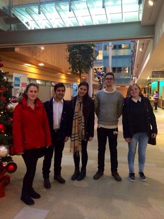 Group picture of University of Exeter students. Emily Lomax, Zeeshan Rahman, Shayin Gibson, Jack Richards, Hannah Nicholls