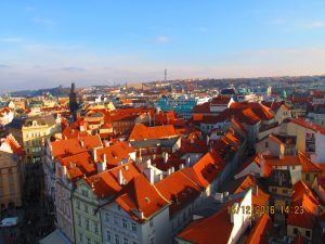 The colourful roofs of Prague