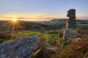 Bowermans Nose granite rock formation near Hayne Down. Dartmoor.