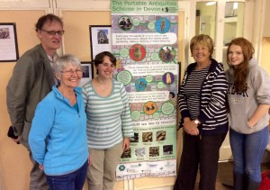 Dr Sam Moorhead, with two of our volunteers, Judy and Anne, and our two interns, Jess and Lowenna