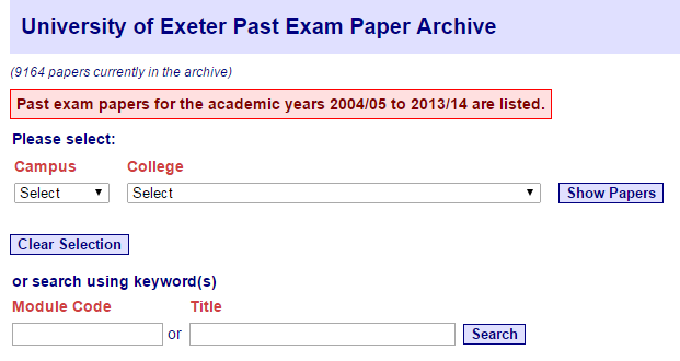 A screenshot of the archive search screen
