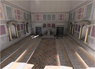 Reconstruction of the Interior of the Senate house: UCLA Digital Forum. Photo Credit: Curia interior, UCLA Experiential Technologies Center, © Regents, University of California