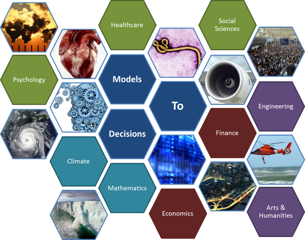 Examples of disciplines we are seeking to engage include Applied Mathematics, Engineering, Operational Research, Economics, Finance, Environmental Science, Management Science, Arts and Humanities, Political Science, Computer Science, Psychology, Risk, Medical Informatics, Statistics and Applied Probability, Data Science and Information Science.