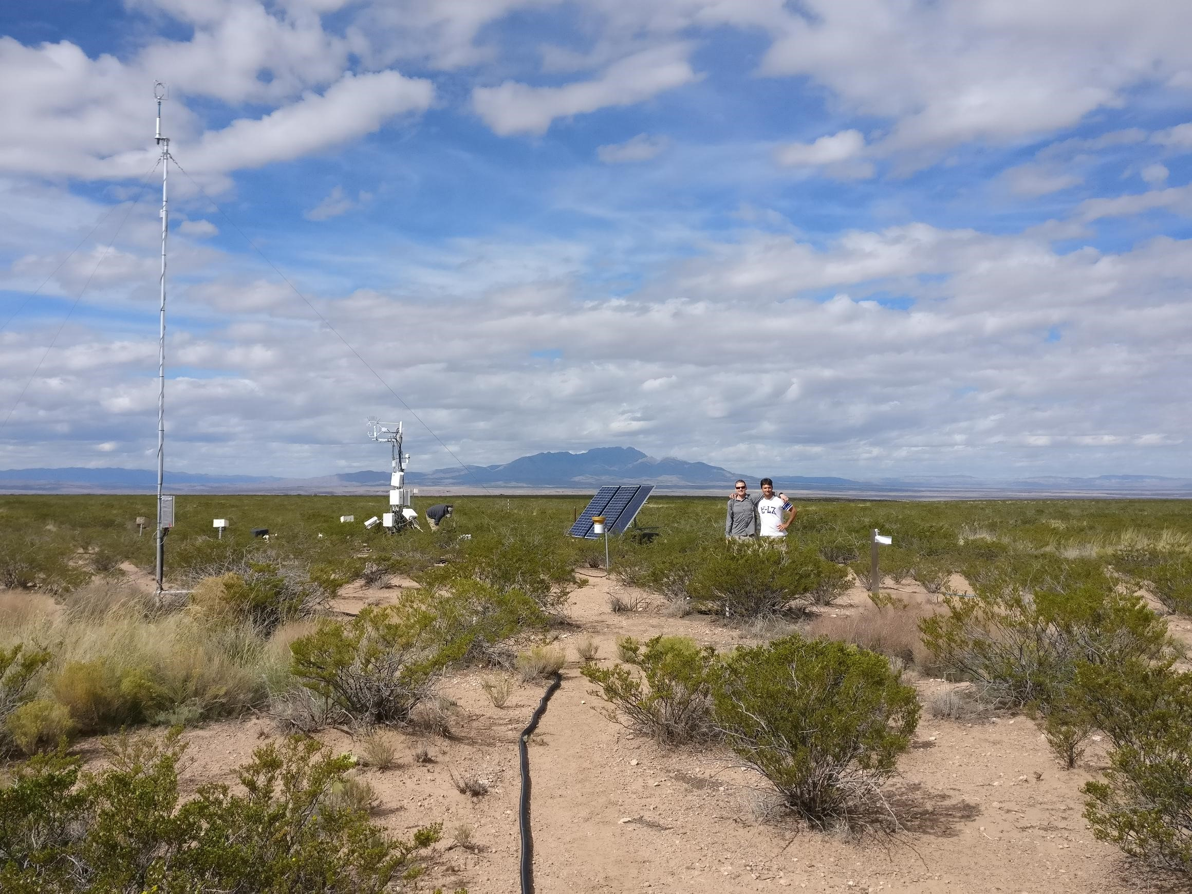 Andrew Cunliffe and Fabio Boschetti completing the drylands Eddy Covariance install (photo by K Anderson)