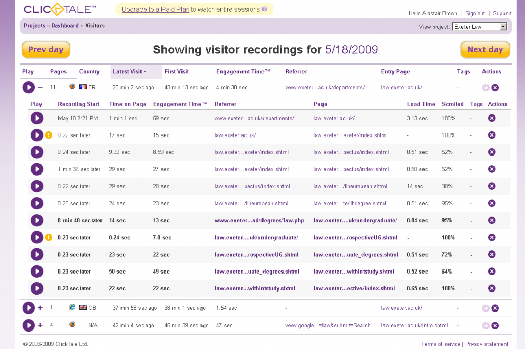 Showing the list of available recordings and their path through the site