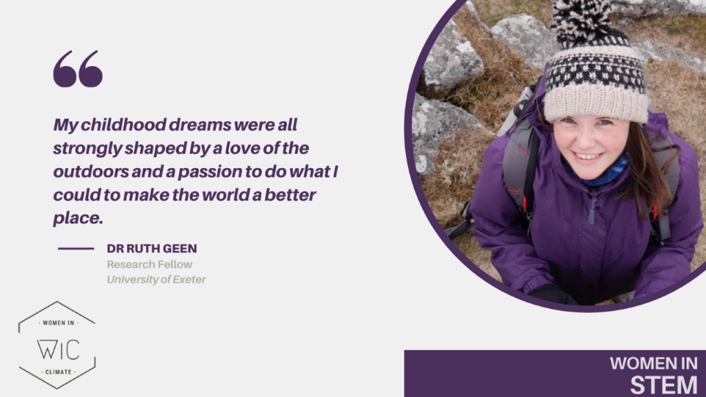"""Click the above tile to read their blog. """"My childhood dreams were all strongly shaped by a love of the outdoors and a passion to do what I could to make the world a better place."""" Dr. Ruth Chapman, Research Fellow, University of Exeter"""